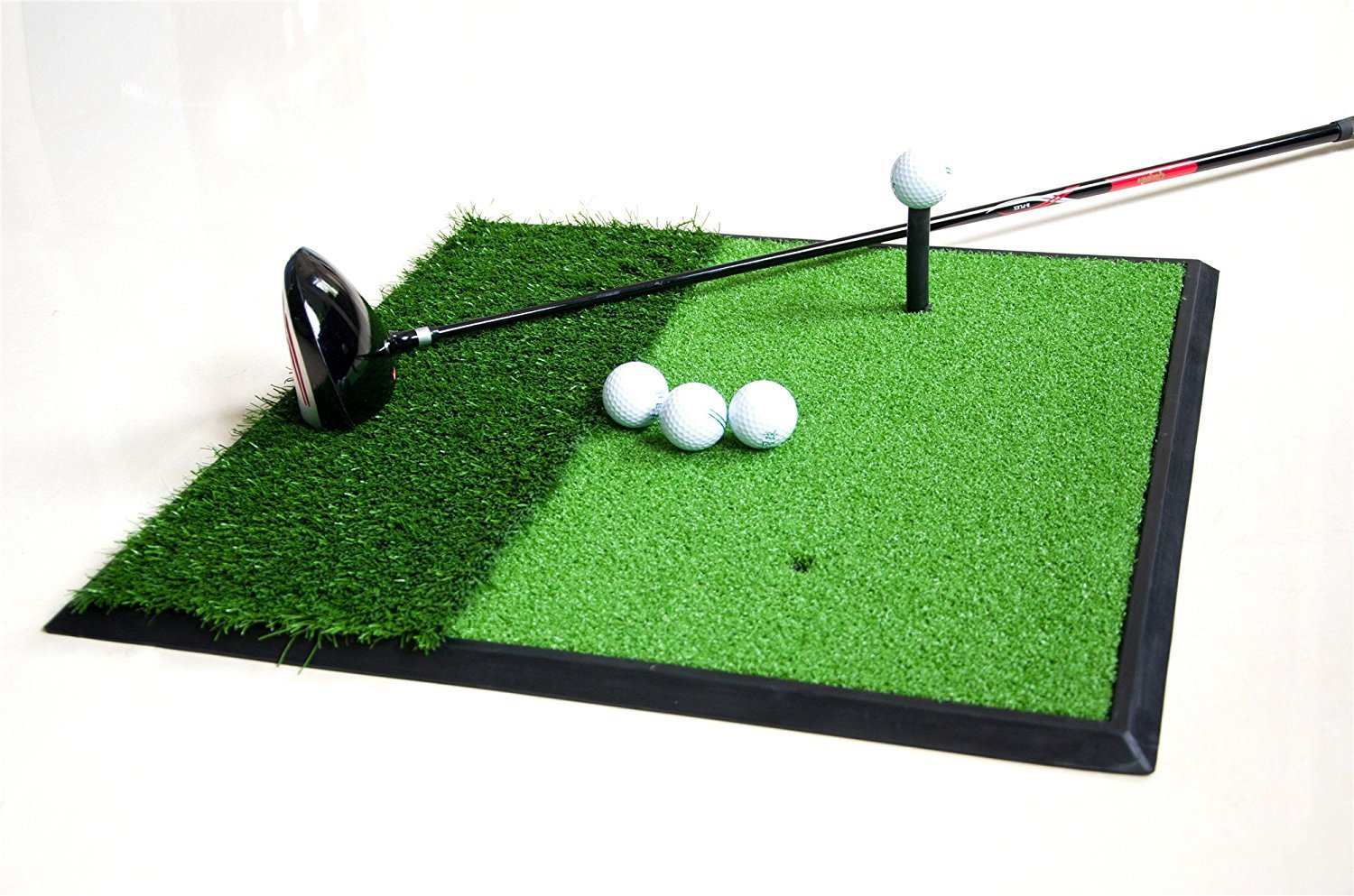 77tech 2'X2' Golf Hitting Mat with Rubber Tee Dual-Surface Golf Practice Training Swing Chipping Mat Aids