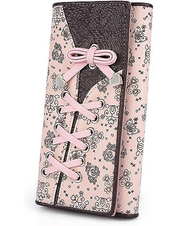 a084e8da9b0 UTO Cartera RFID de Mujer Monedero Largo Moda Diseño Lazo Patrón Lindo  Plegable con Bolsillo para