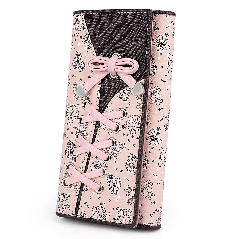 UTO Portafoglio Ragazza RFID portafoglio blocco piegatura con Farfalla di all'acciatura, Pelle sintetica di bella disegno stampa,rosa e marrone 18000204-1