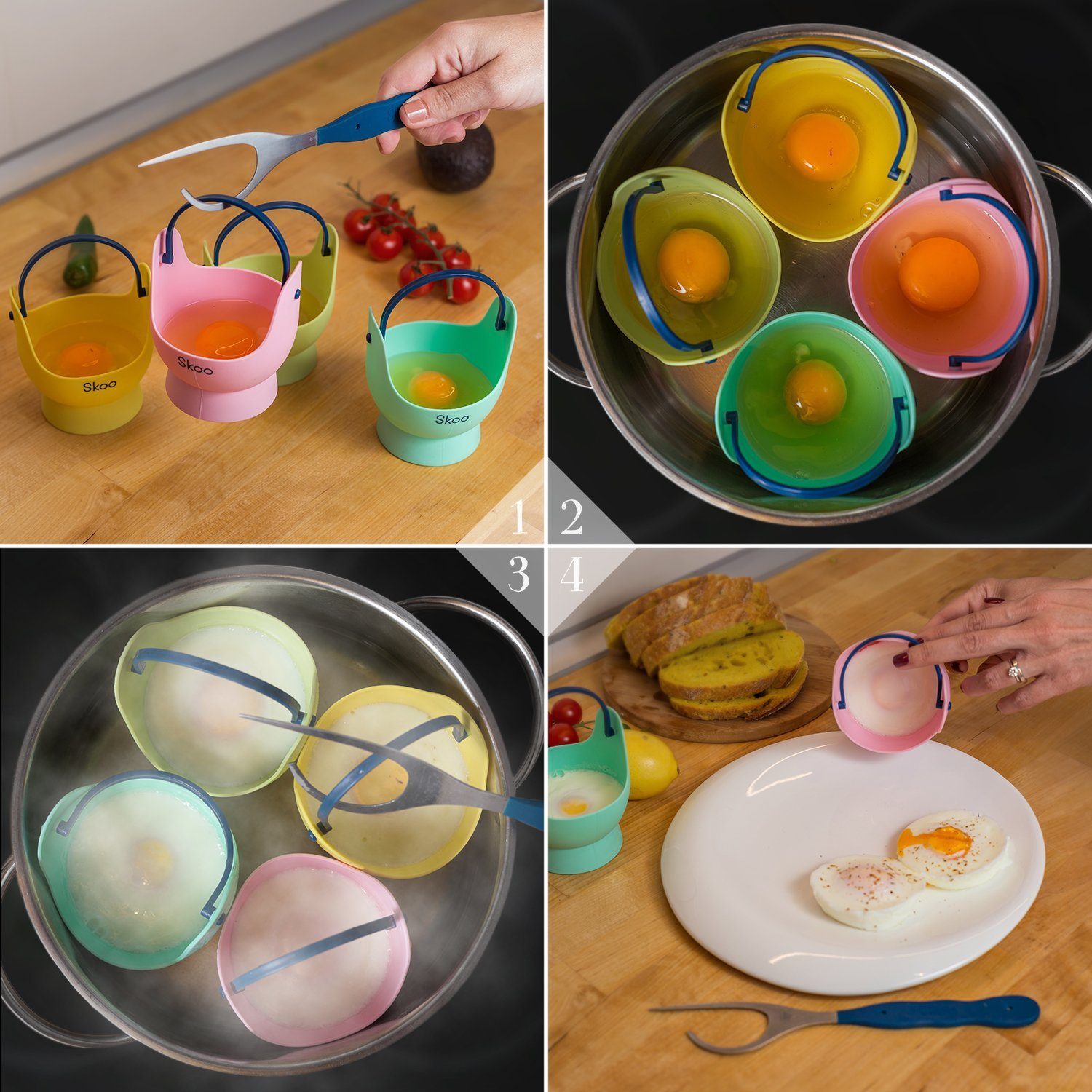 Silicone Egg Poacher Cups + Free Fork - Egg Cooker Set - Perfect Poached Egg Maker - For Stove Top, Microwave and Instant Pot by Skoo (Image #5)