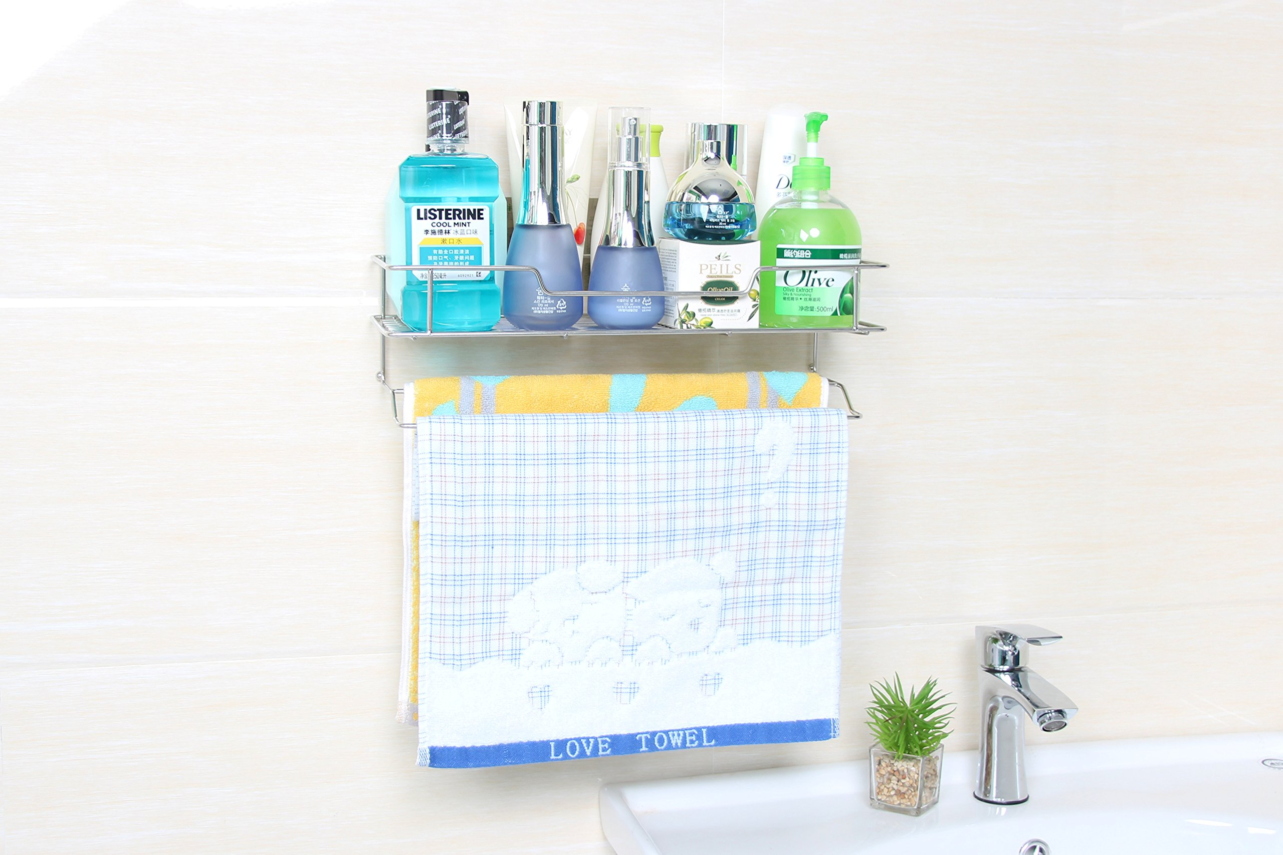 Bathroom Shelf Organizer Storage Kitchen Rack,Shower Caddy for Shampoo Holder, Wall Mounted Corner Shelf Kitchen Spice Holder Organizer for Towel,Super Self Adhesive,Drill Free,Stainless Steel