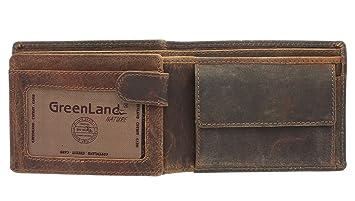 Greenland-Nature MONTANA Cartera de Cuero para Hombre con Compartimento para Monedas 170 Marrón