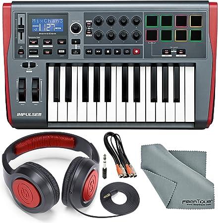 Novation Impulse 25 USB-MIDI teclado y paquete con 2 MIDI a 2 MIDI (dual) cable + auriculares estéreo Samson + paño de limpieza de fibra