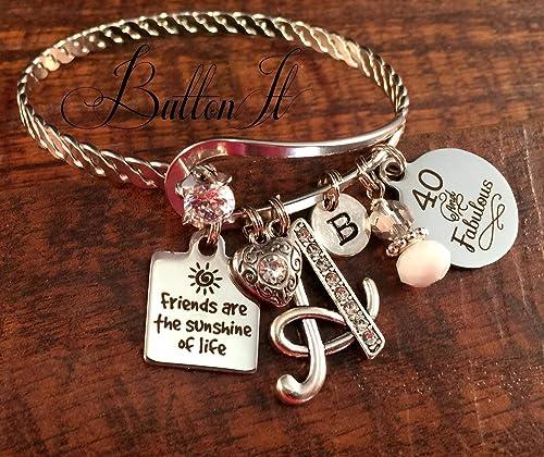 Amazon Com Best Friend Gift Friendship Bracelet Friend Birthday Gift 40th Birthday Gifts For Her 60th Birthday 50th Birthday Birthstone Inital Handmade