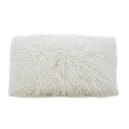 AZ Home Faux Mongolian Poly Filled Throw Pillow Ivory, 12×20
