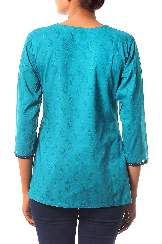 NOVICA Green Beaded Cotton Tunic Turquoise in Delhi