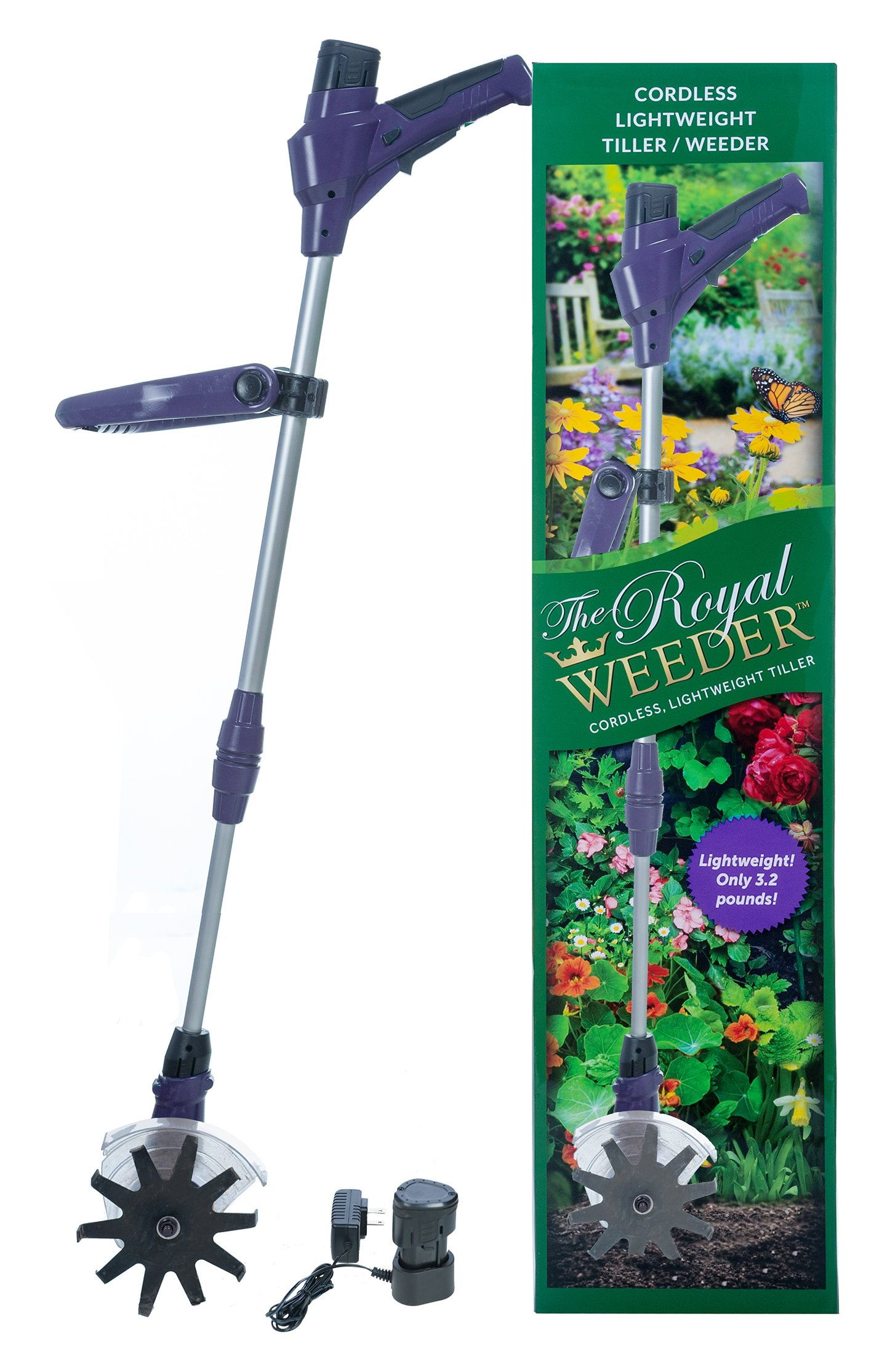 The Royal Weeder Lightweight Electric Tiller and Cultivator with Rechargeable Battery and Charger Plus Extra Battery