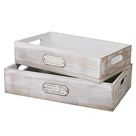 Amazon Com Slpr White Wooden Serving Tray With Handles Set Of 2