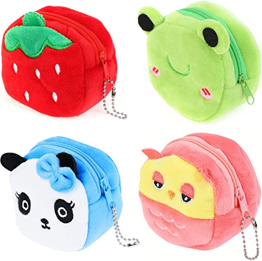 SUSHAFEN 4Pcs Plush Coin Purse Wallets Frog Coin Purse Soft Headset Bag Cartoon Animal Wallet Panda Owl Strawberry Coin Bags Novelty Toy School Prize Gifts Kids Goodie Bag Fillers