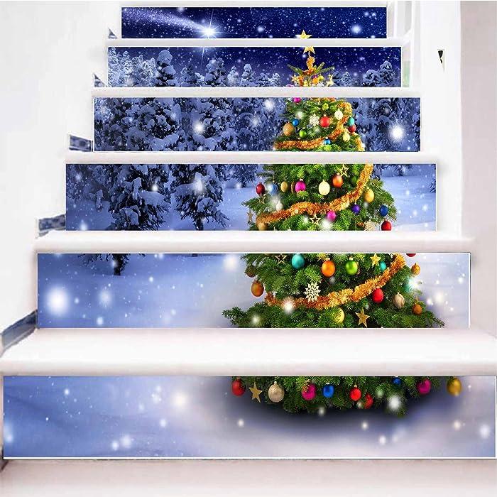 zhiyu&art decor 3D Christmas Tree Stair Stickers Decals-6Pcs/Set Christmas Tree Stair Risers Stickers Decals Removable Staircase Decals Vinyl Wall Stickers for Stair Steps Christmas Decoration