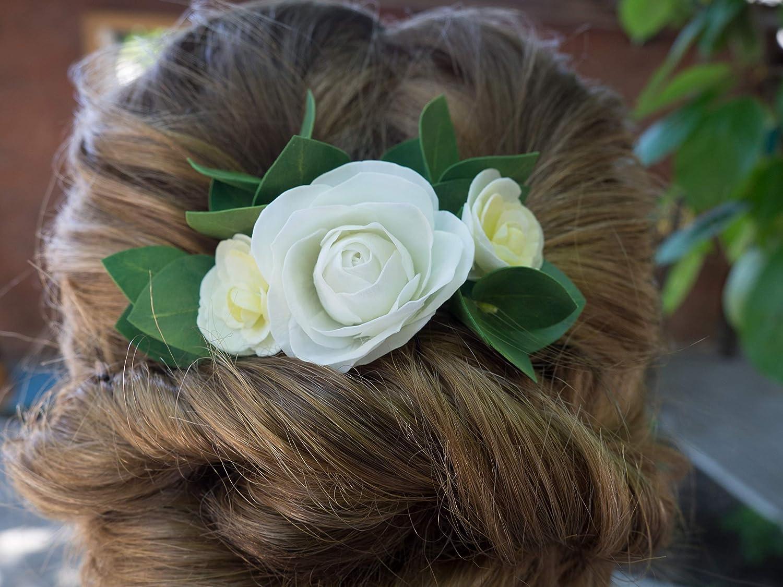 Greenery bridal headpiece Eucalyptus floral hair comb for women Bridal flower headpiece