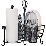 Gourmet Basics by Mikasa Avilla Picnic Plate Napkin and Flatware Storage Caddy with Paper Towel Holder, Complete Service, Ant