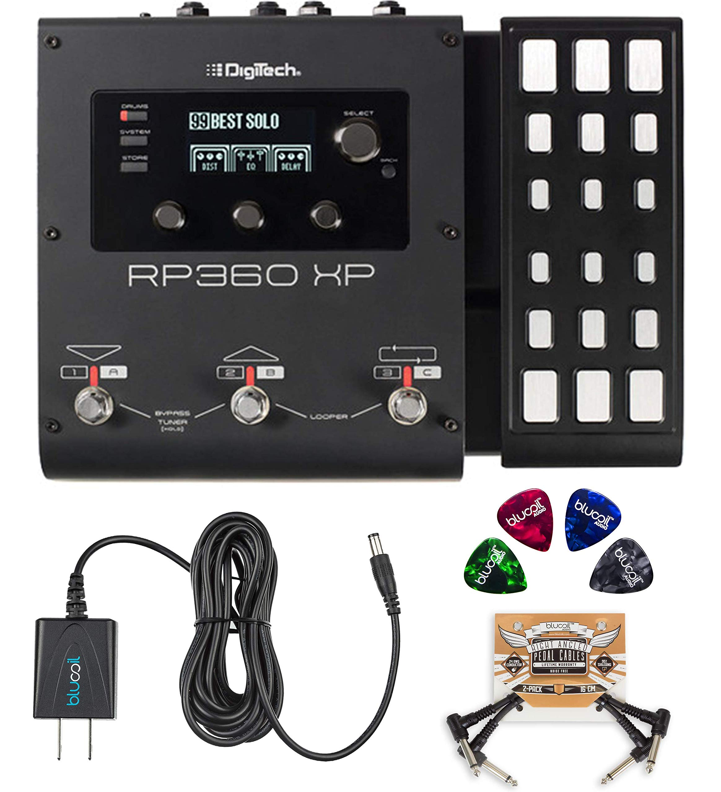 DigiTech RP360XP Multi-Effects Processor with Expression Pedal Bundle with Blucoil 9V AC Adapter, 2x Patch Cables and 4x Celluloid Guitar Picks