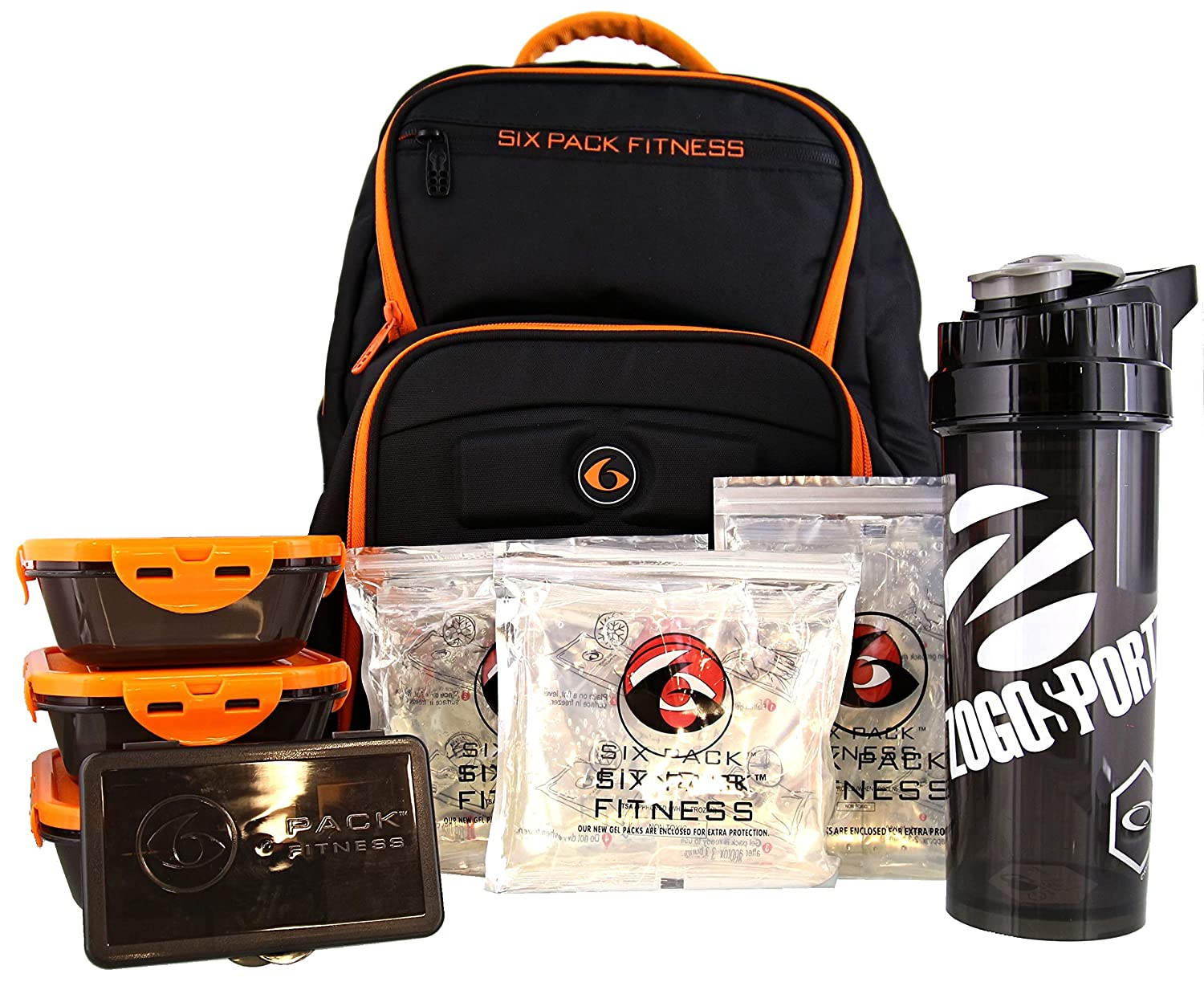 8b18a7691686 Amazon.com  6 Pack Fitness Expedition Backpack W Removable Meal Management  System 500 Black Neon Orange  Health   Personal Care