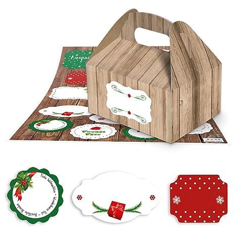 10 Kleine marrón (aspecto de madera de cajas de regalo cajas navideño, 9 x