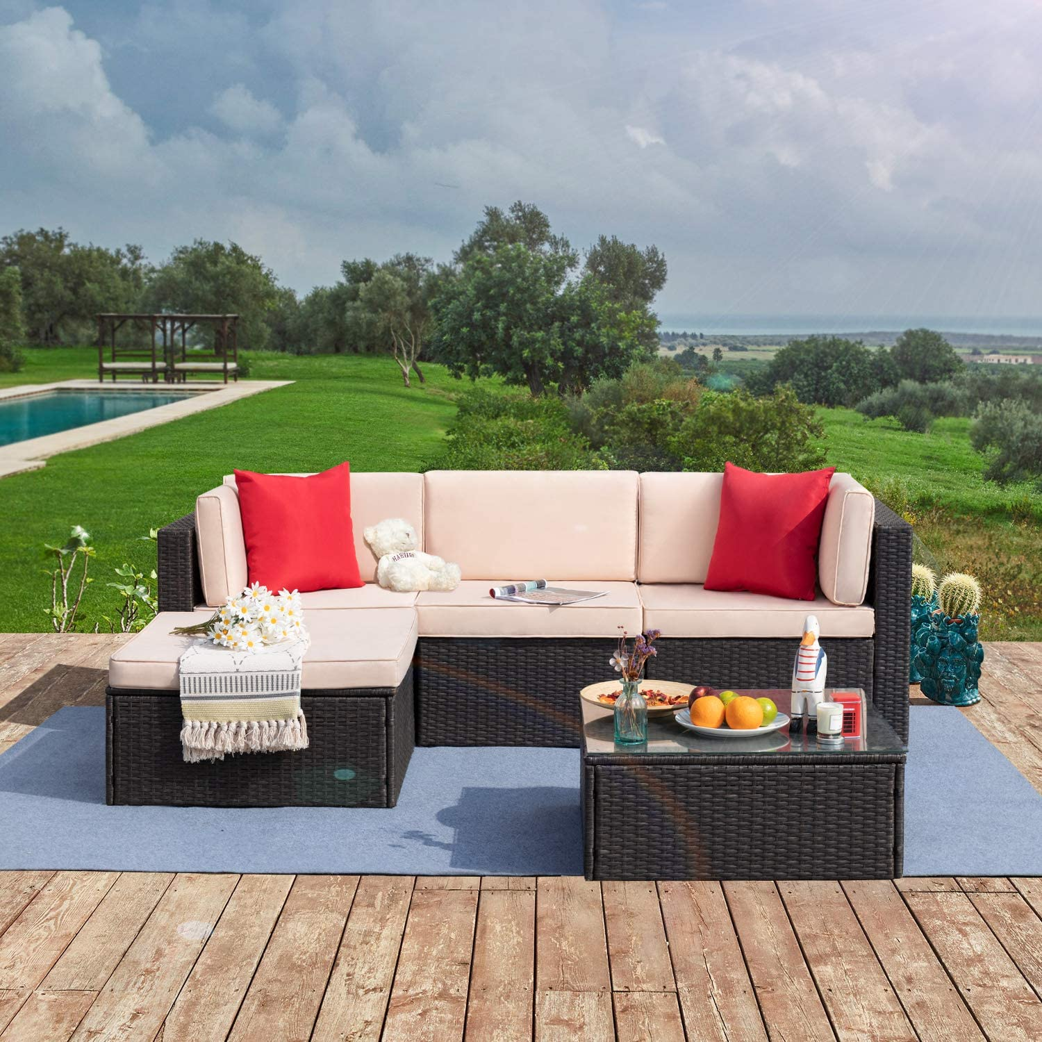 Tuoze 8 Pieces Patio Furniture Sectional Set Outdoor PE Rattan Wicker Lawn  Conversation Sets Cushioned Garden Sofa Set with Glass Coffee Table (Beige)