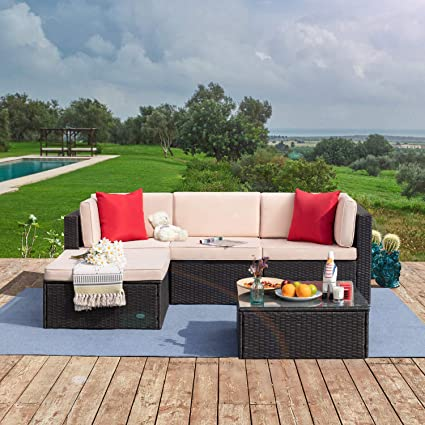 Amazon.com: Tuoze 5 Pieces Patio Furniture Sectional Set Outdoor PE Rattan Wicker Lawn Conversation Sets Cushioned Garden Sofa Set With Glass Coffee Table (Beige): Garden & Outdoor