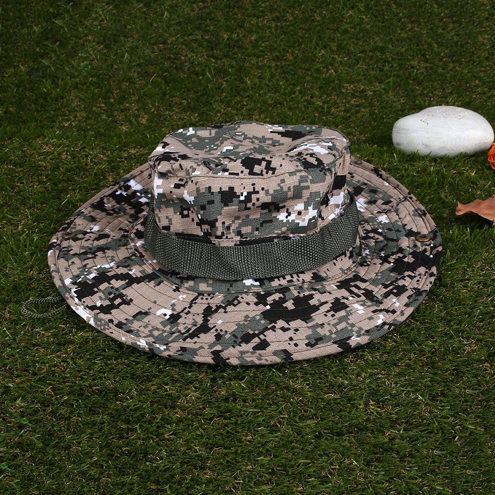 Beautyrain 1 pc Caccia di pesca Camo Boonie Hat Esercito tattico Militare Jungle Bush Summer Sole Cappellini da camuffamento Escursioni allaperto Bush di estate Cappelli da camuffamento del sole