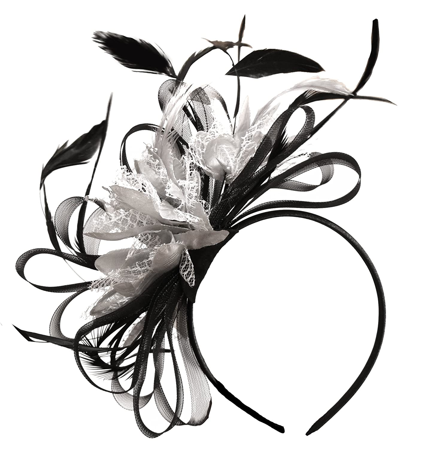 Black and Silver Fascinator Headband Hair Ascot Wedding black_silver_hoopmix2