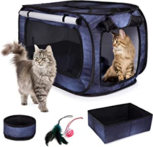 CHEERING PET, Stress Free Cat Cage, Portable Cat Condo Cage, Collapsible Travel Litter Box, Foldable Feeding Bowl,Feather Teaser and Ball, Carrying Bag, Extra Large 32