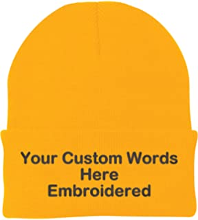 dea7314b8f0 Unameitcustom Customize Your Beanie Personalized with Your Own Text  Embroidered