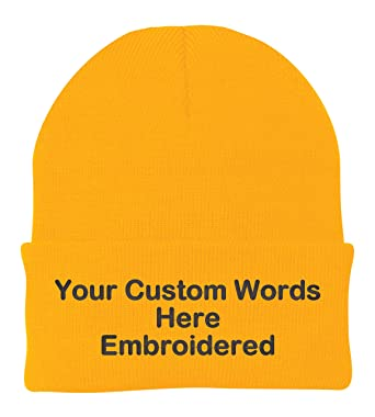 Unameitcustom Customize Your Beanie Personalized with Your Own Text  Embroidered (Athletic Gold Yellow) 8bd27c7b9