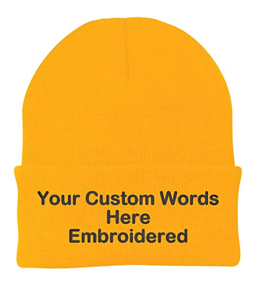 53c577df283 Unameitcustom Customize Your Beanie Personalized with Your Own Text  Embroidered (Athletic Gold Yellow)