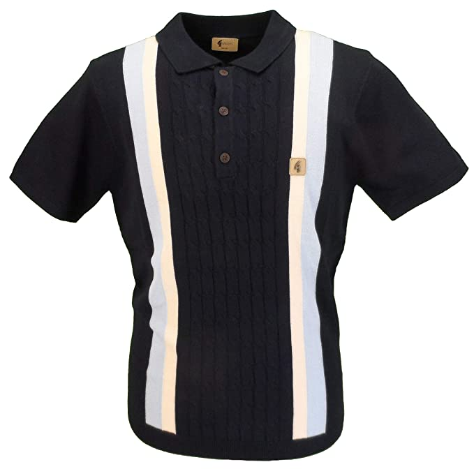 2a3ccc173 Gabicci Vintage Mens Cable Knit Retro Polo Shirt: Amazon.co.uk: Clothing