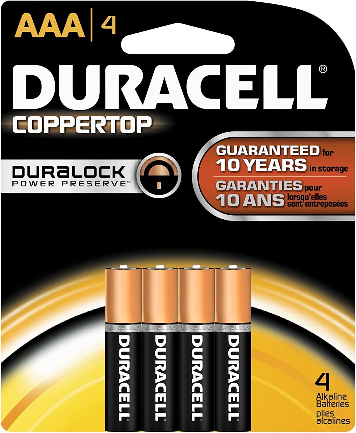 All-Purpose Triple A Battery for Household /& Business CopperTop AAA Alkaline Batteries Long Lasting 4Count Duracell