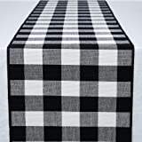"DOLOPL Buffalo Check Table Runner Heat Resistant Machine Wahsing Black and White Table Runners 13""x71""(33x180cm) for…"