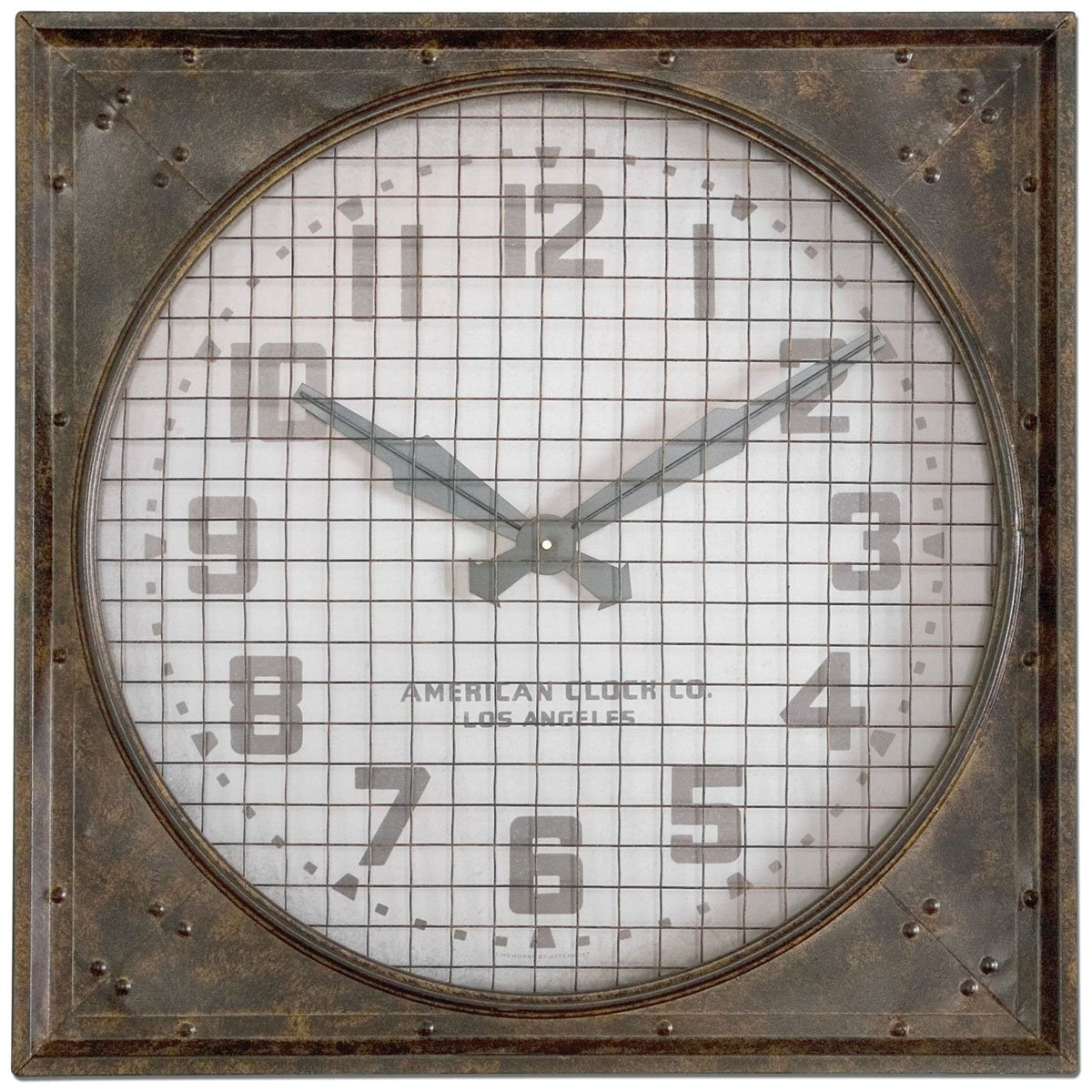 Amazon Uttermost 06083 Warehouse Wall Clock Grill Brownwhite