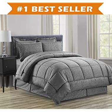 Luxury Bed-in-a-Bag Comforter Set on Amazon! Elegant Comfort Wrinkle Resistant - Silky Soft Beautiful Design Complete Bed-in-a-Bag 8-Piece Comforter Set -Hypoallergenic- Full/Queen, Grey
