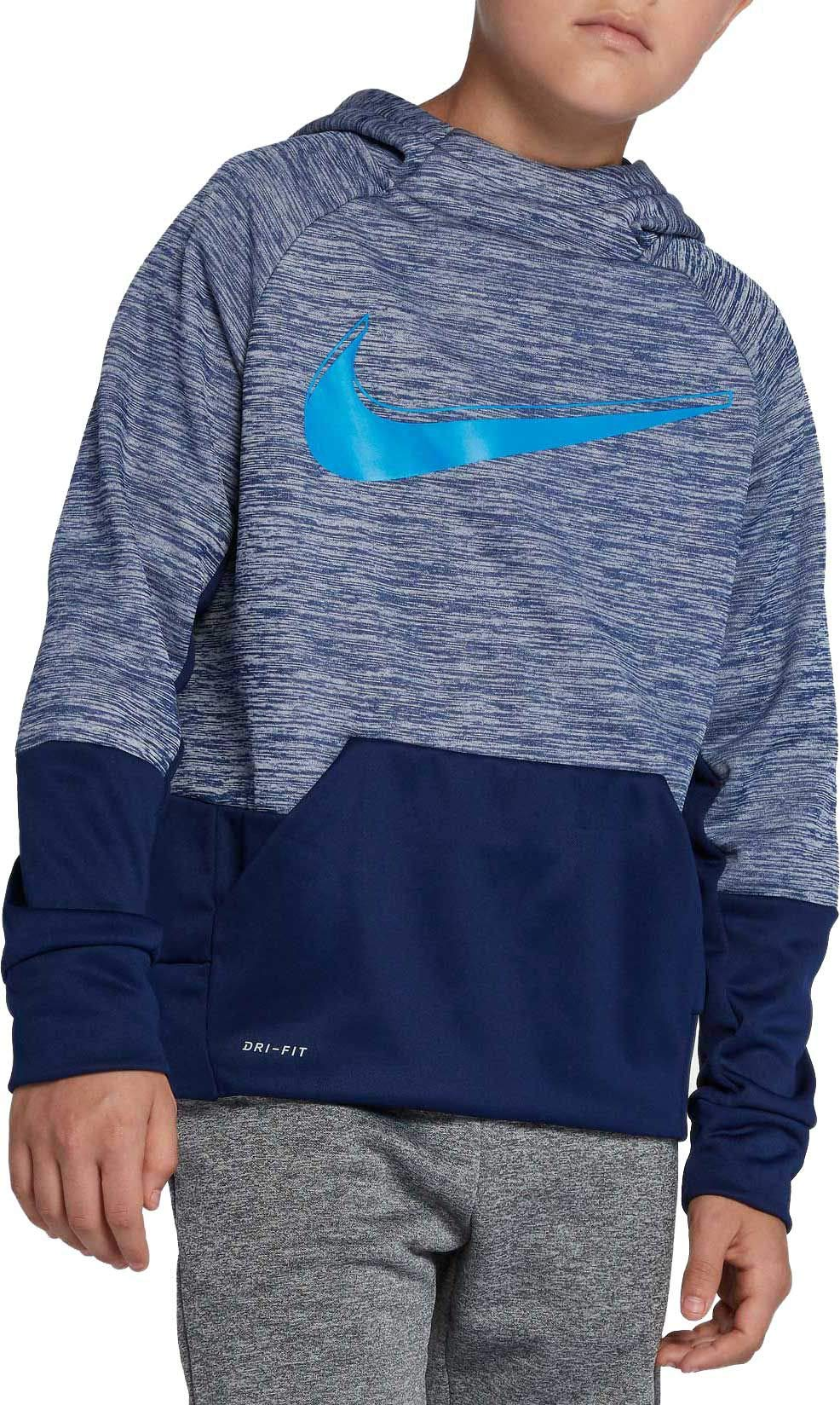 NIKE Boy's Therma Heathered Graphic Hoodie (Blue/Blue, X-Small)