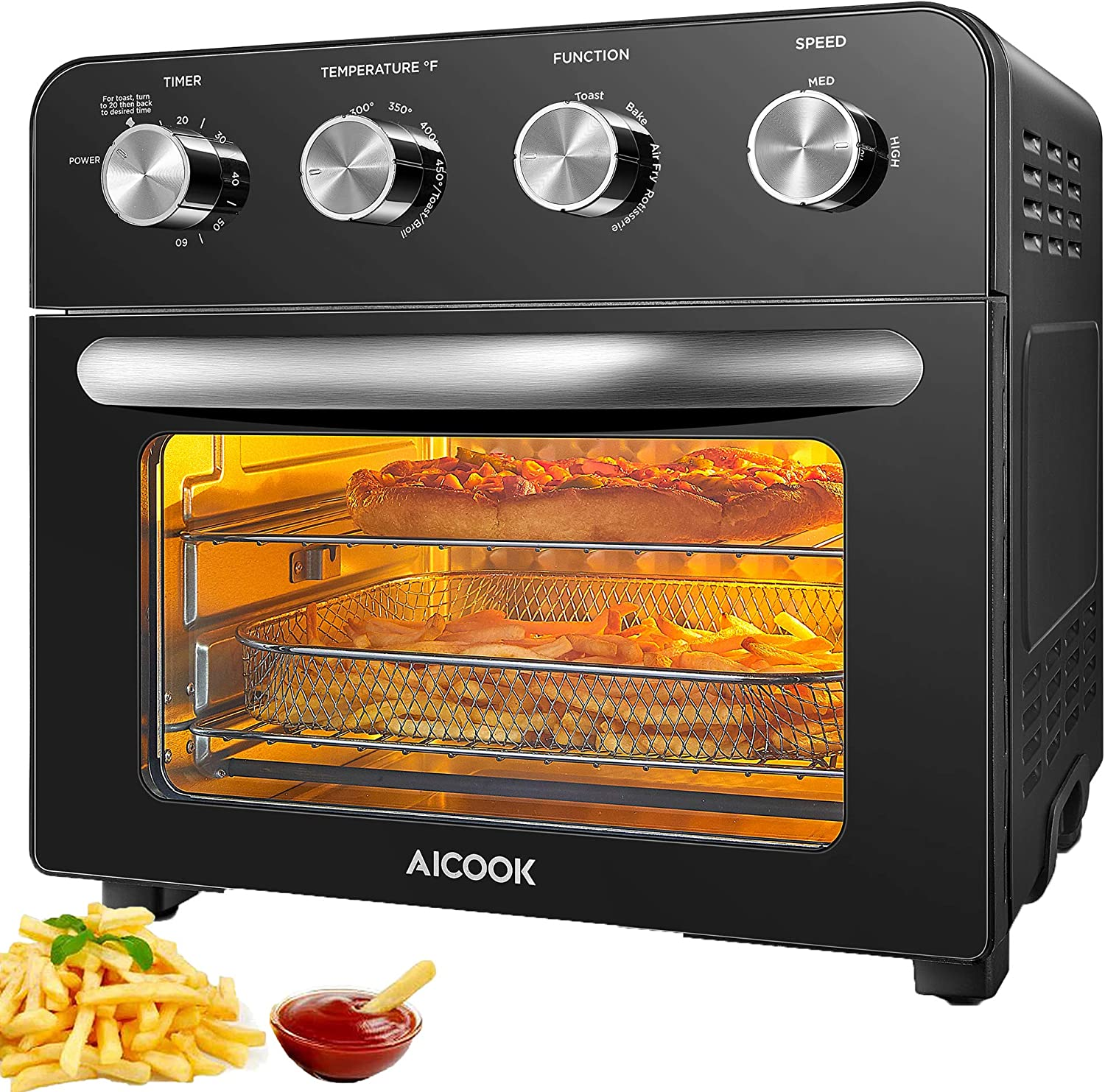 10-in-1 Air Fryer Oven 1700W AICOOK 24 Quart Airfryer Toaster Oven for Chicken, Pizza, Fries and Cookies, Convection Roaster with 6 Accessories & Recipes Included, Black