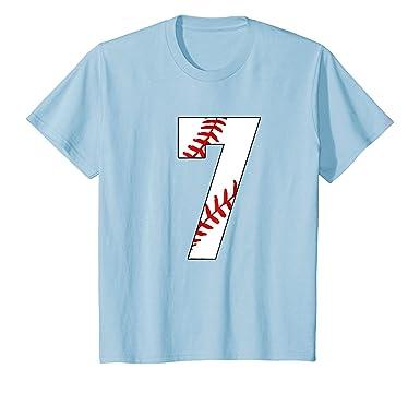 Kids 7 Seventh Birthday Party 7th Baseball Mom T Shirt 4 Baby Blue