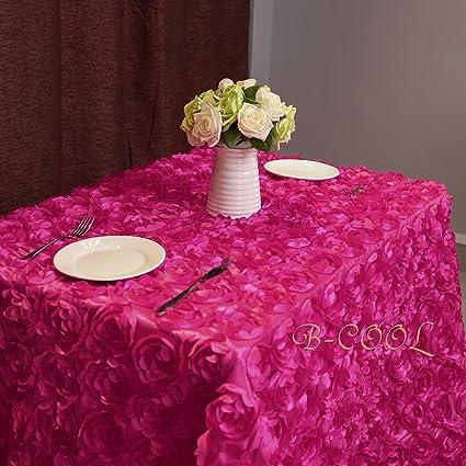 B COOL Rose Pattern Tablecloth 3d Floral Tablecloth Rosette Florals Satin  Rectangular Tablecloths 60u0026quot;