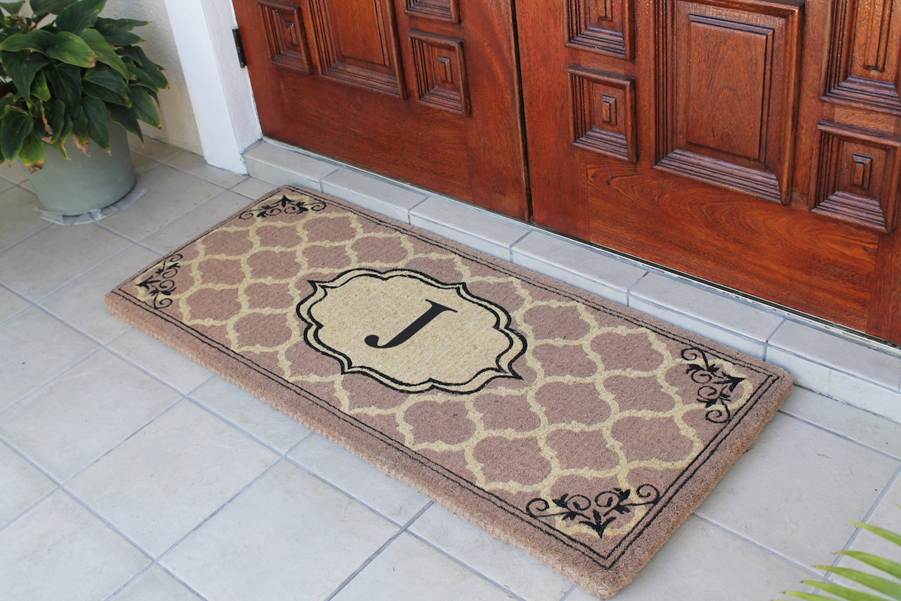 First Impression Gayle Ogee Monogrammed Entry Double Doormat,A1HOME200106-J