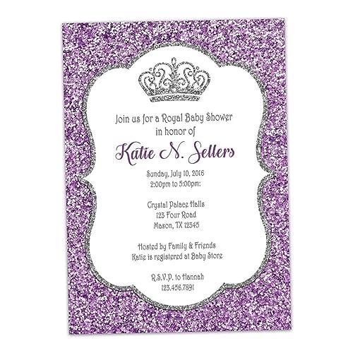 Amazon purple silver princess baby shower invitation glitter purple silver princess baby shower invitation glitter royal crown filmwisefo