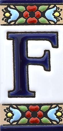 """Image ofLetreros con numeros y letras en azulejo de ceramica, pintados a mano en técnica cuerda seca para nombres y direcciones. Texto personalizable. Diseño FLORES MINI 7,3 cm x 3,5 cm. (LETRA """"F"""")"""