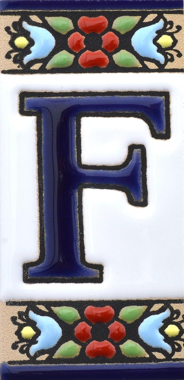 Letreros con numeros y letras en azulejo de ceramica pintados a mano en t/écnica cuerda seca para nombres y direcciones Dise/ño FLORES MINI 7,3 cm x 3,5 cm. Texto personalizable NUMERO OCHO 8