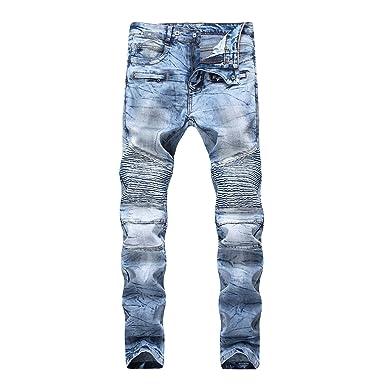 a0ebd19c80bf FREDD MARSHALL Men's Light Blue Moto Biker Skinny Washed Wrinkled Stretch  Denim Blue Jeans W34