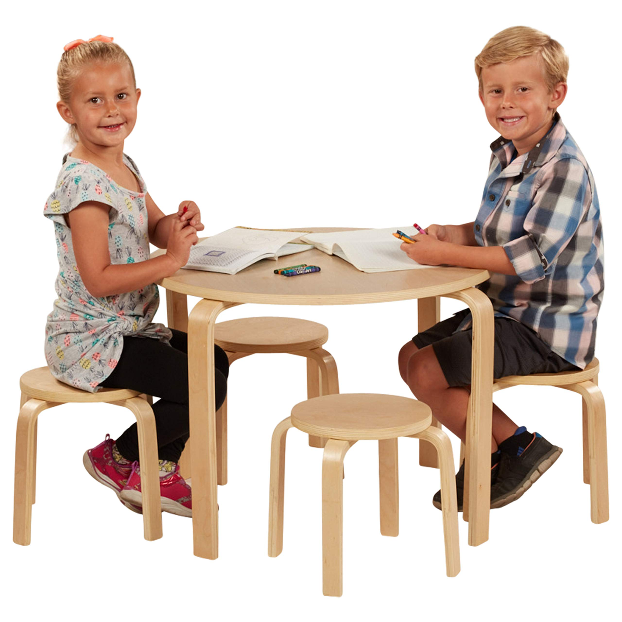ECR4Kids Bentwood Table and Stool Set for Kids, Natural (5-Piece Set) by ECR4Kids
