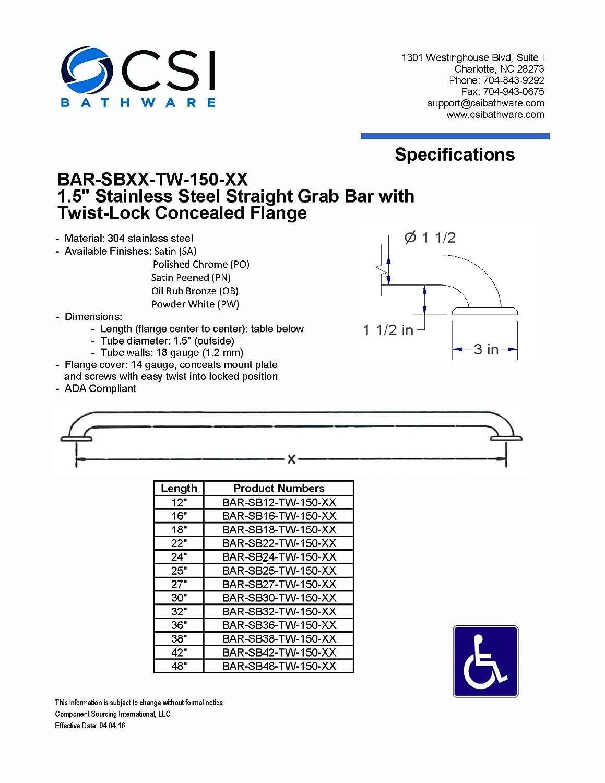 White CSI Bathware BAR-SB30-TW-150-PW Straight Safety Grab Bar