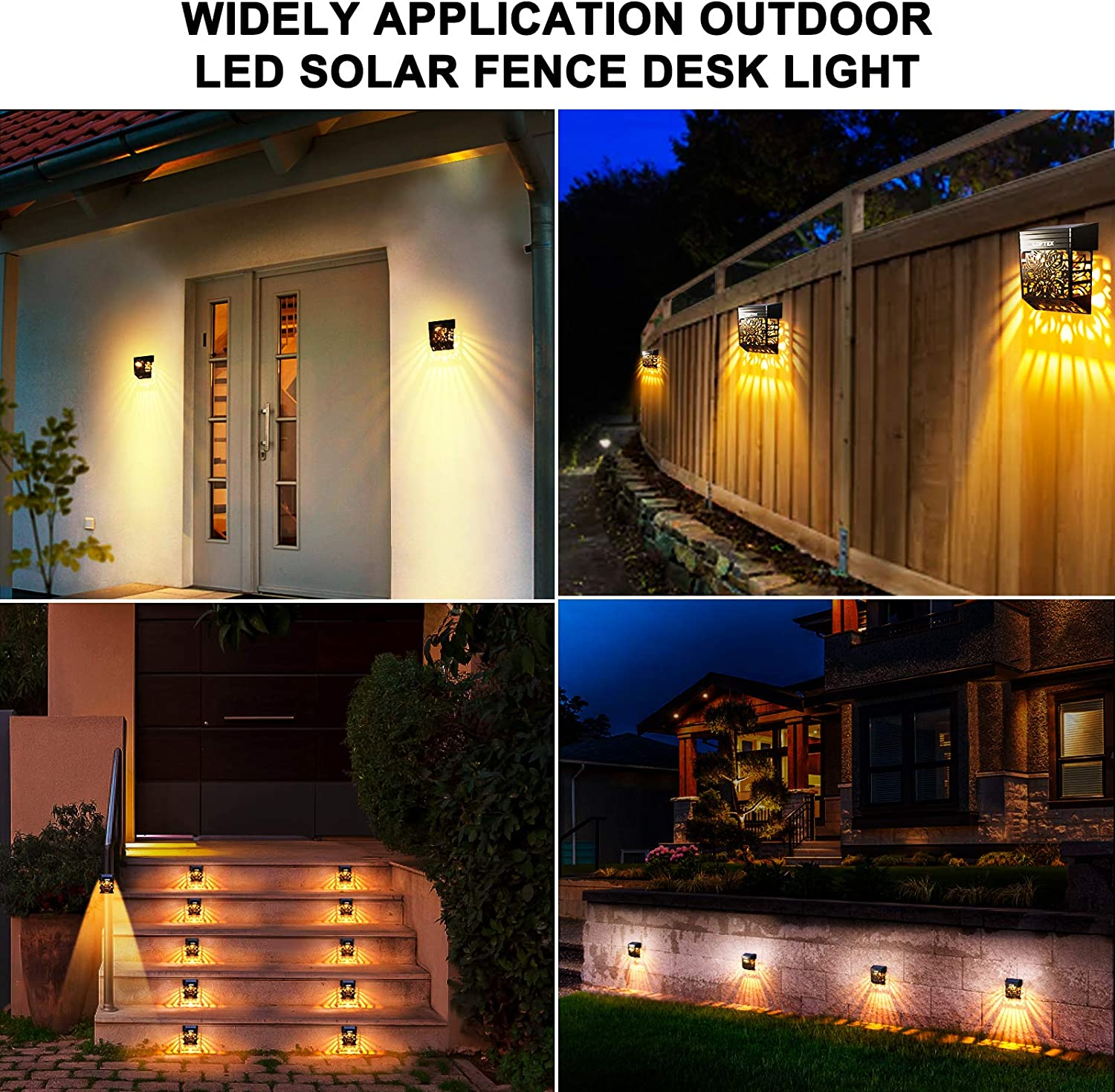 LOFTEK Solar Fence Lights Outdoor Path Stair Post Solar Wall Deck Lights Led Garden Decorative Lighting Waterproof Automatic Solar Patio Lamps for Front Door Pool 8 Pack Warm White Backyard