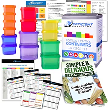 portion control containers deluxe kit 14 piece with complete guide 21 day efficient nutrition