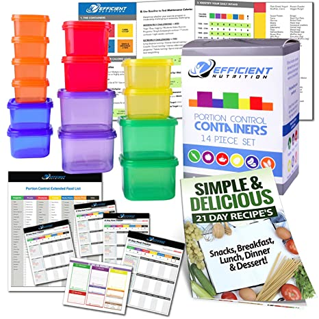 Amazon portion control containers deluxe kit 14 piece with portion control containers deluxe kit 14 piece with complete guide 21 day fandeluxe Image collections