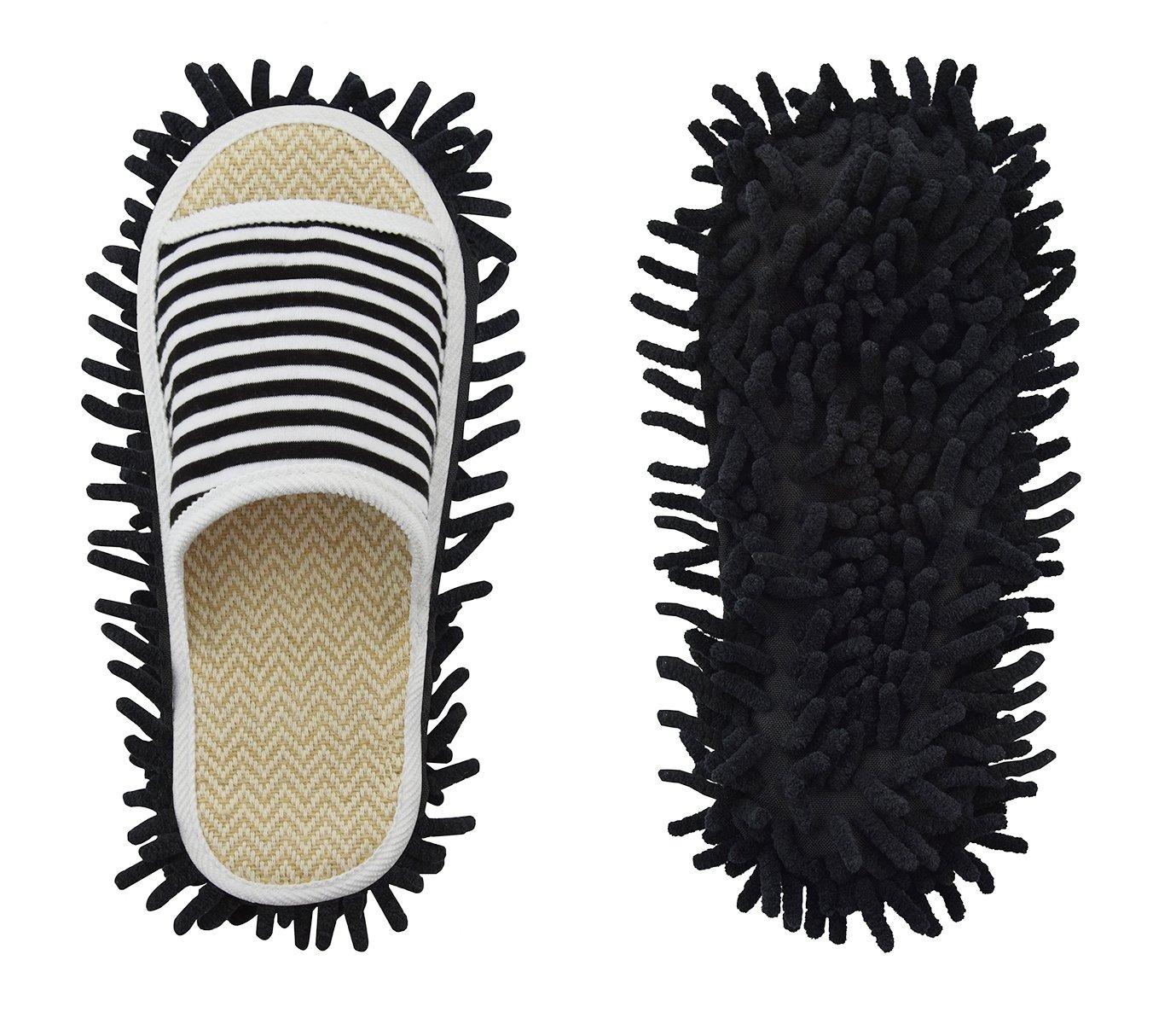 Xunlong Ciniglia Scarpe Pantofola Genie In Microfibra Mop Per La Pulizia Del Pavimento Strumento Per La Pulizia Della Polvere Pantofole Da Donna (Stripes nero, EU 37-41)  Stripes Nero