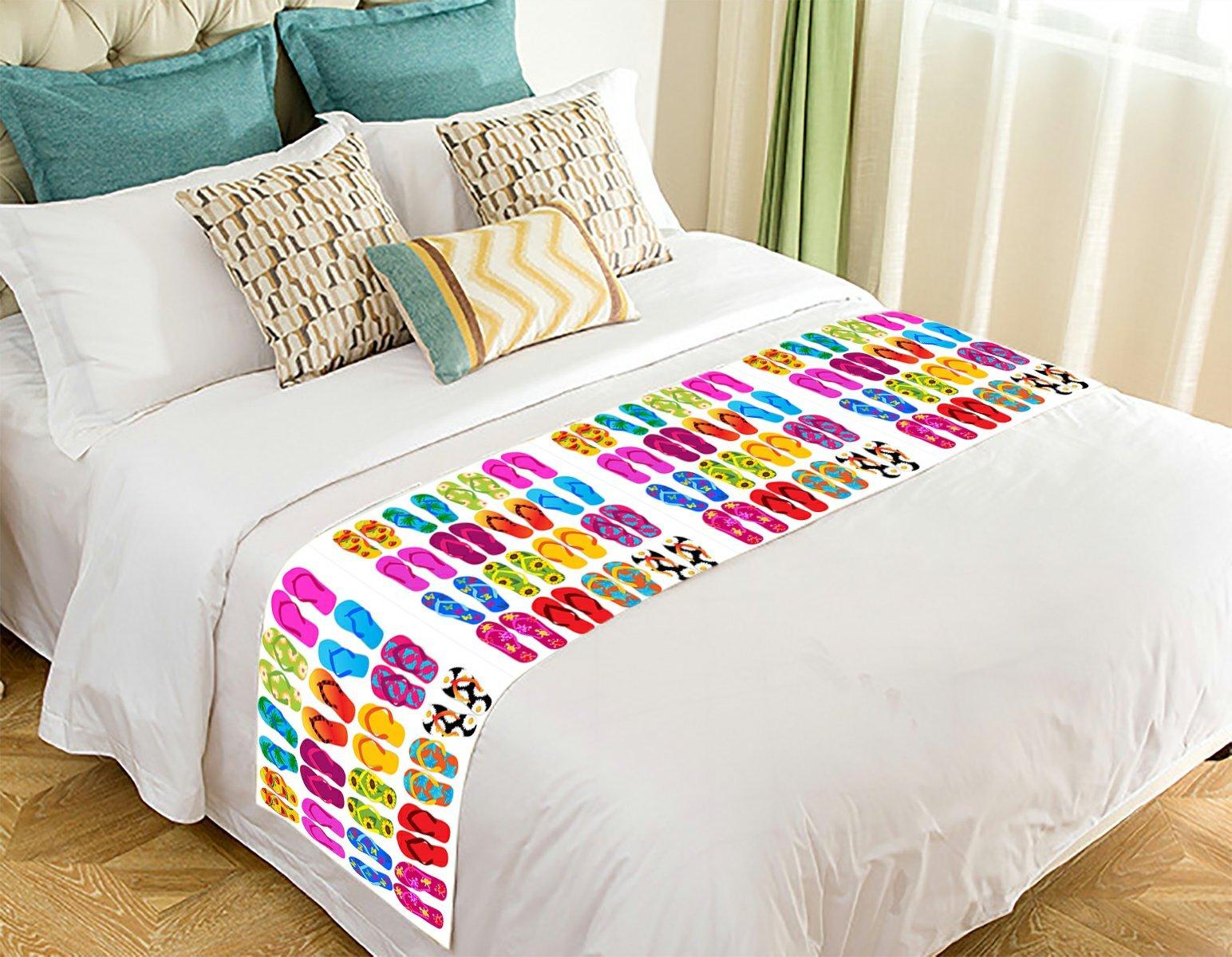NNBZ Custom Colorful Beach Flip Flops Print Bed Runner Cotton Bedding Scarf Bedding Decor 20x95 inches