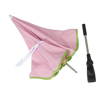 SOMBRILLA carrito bebe ROSA. Parasol muy fácil de acoplar al carrito, incluye Flexo para