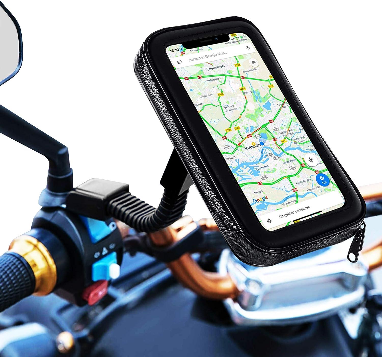 Soporte movil Moto Bicicleta Bici sujecion a Espejo retrovisor con Funda Impermeable Valida para telefonos de hasta 7